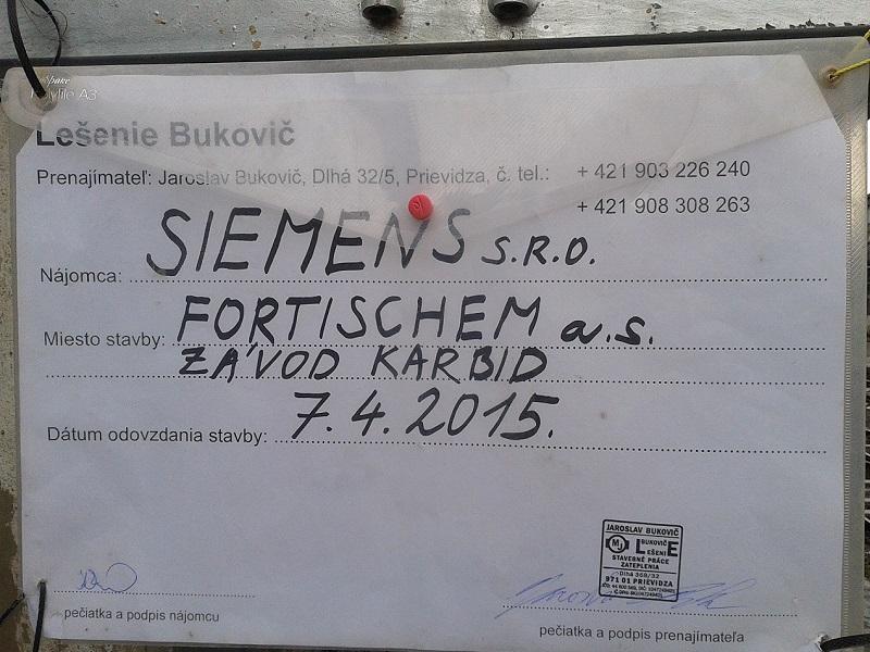 Generálna oprava Karbidovej pece vo Fortischem a.s. Nováky pre Siemens s.r.o. Bratislava