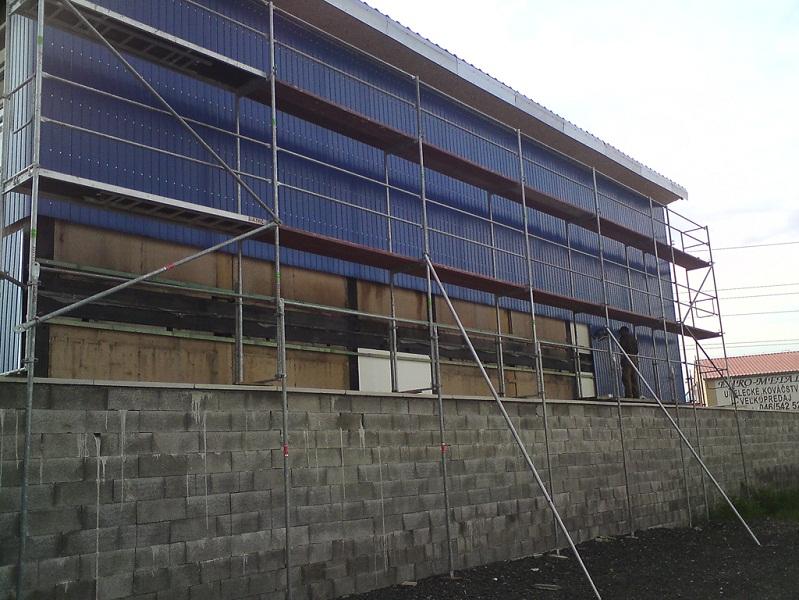 Oprava arealizácia fasády – sklad náhradných autodielov – vrakovisko Prievidza