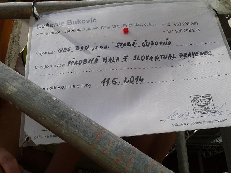 Prenájom lešenia  Slovaktual Pravenec , pre NES – Bau Stará Ľubovňa