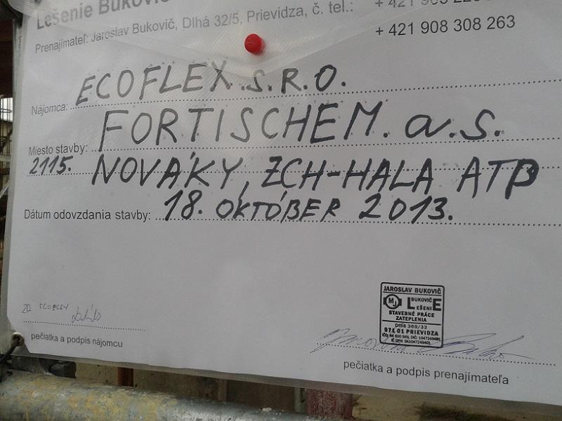 Prenájom lešenia vo Fortischem a.s. Nováky pre Ecoflex (pôvodne NCHZ)